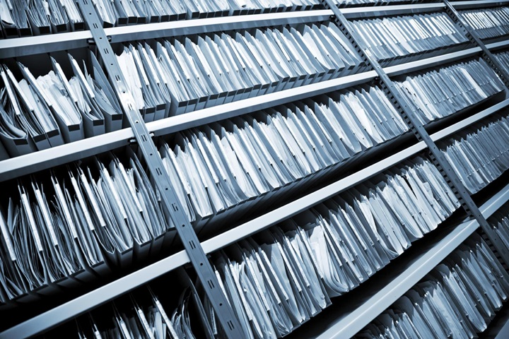 A rack full of archive folders