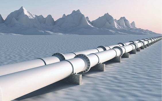 Pipeline with snowy mountains on the background
