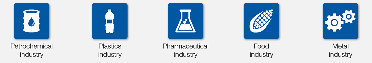 Icons of Petrochemical industry, Plastics industry, Pharmaceutical industry, Food industry, Metal industry