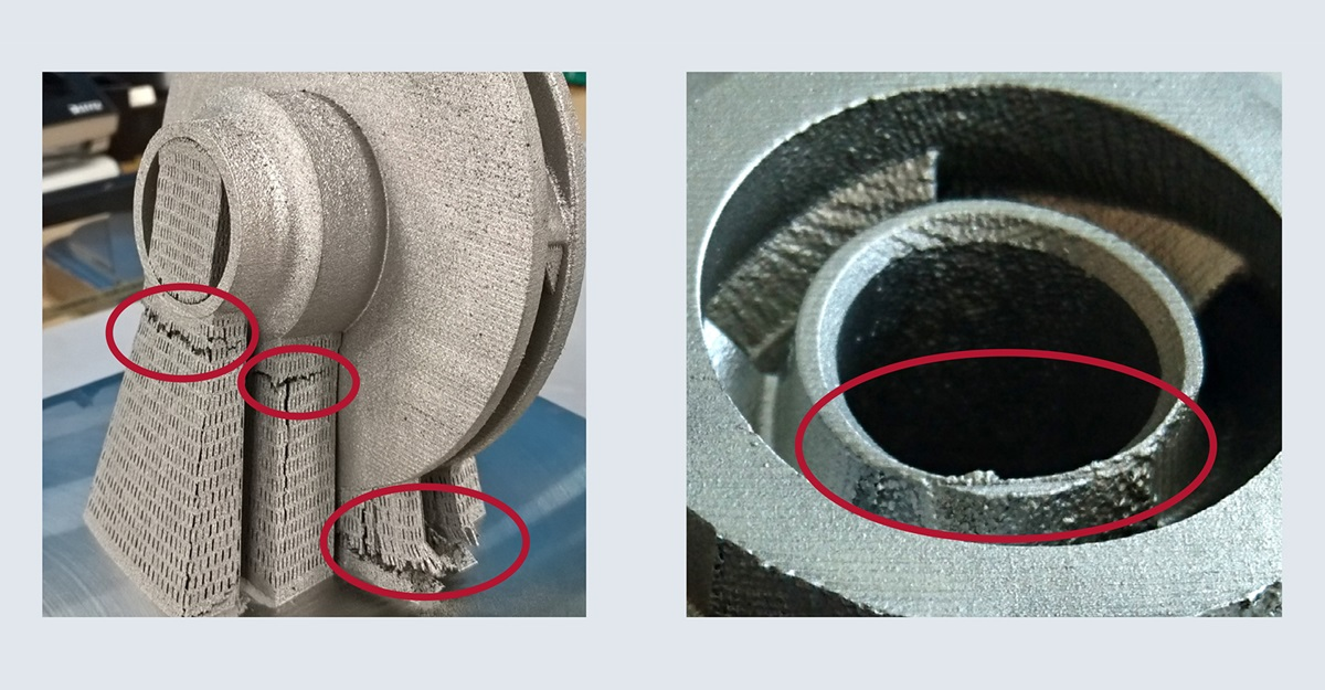 manufactured supports for slm design iteration 1 before and after removal