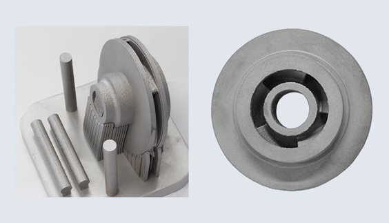 manufactured prototype before and after post-slm processing