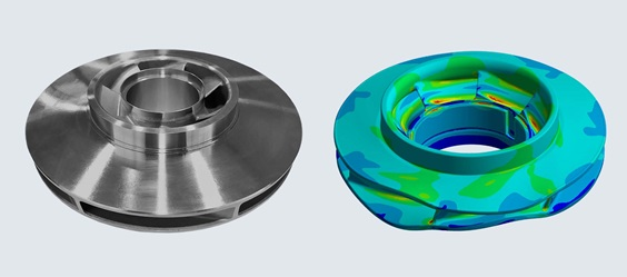 Simulation of impeller deformation under partial load conditions by FE analysis.