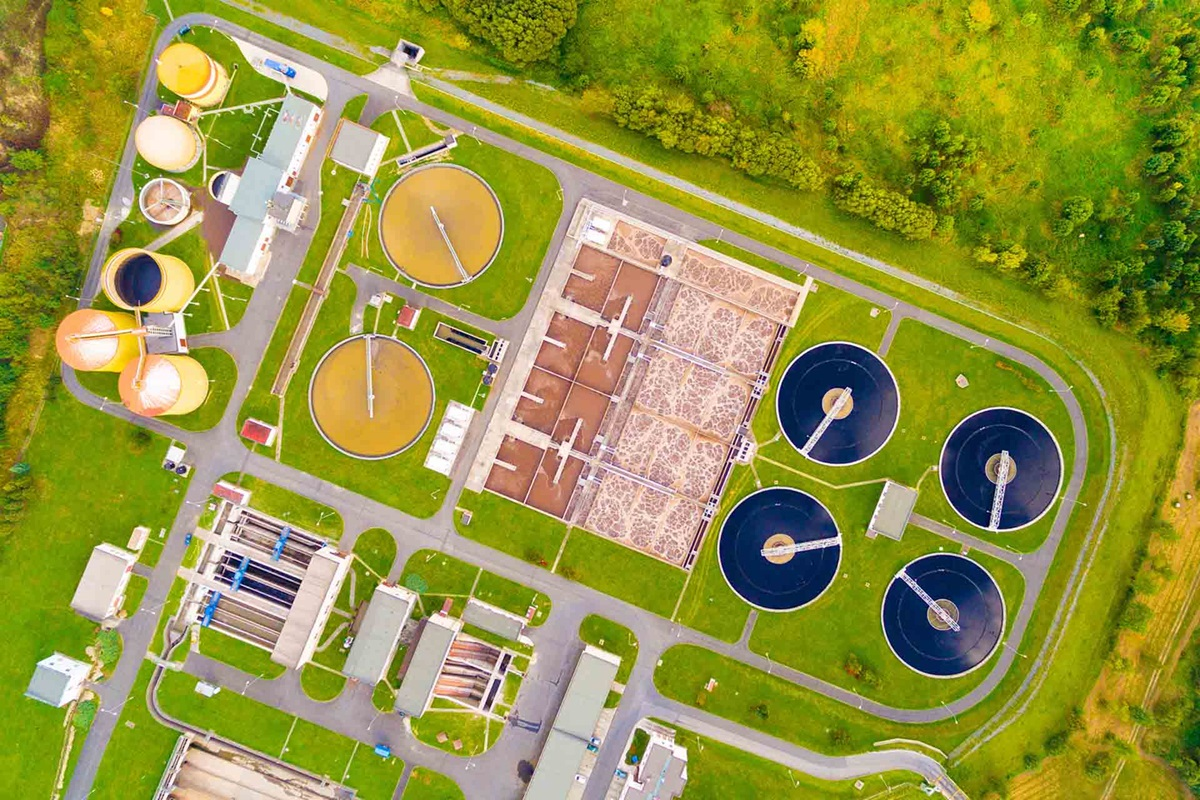 Areal view of a municipal wastewater plant