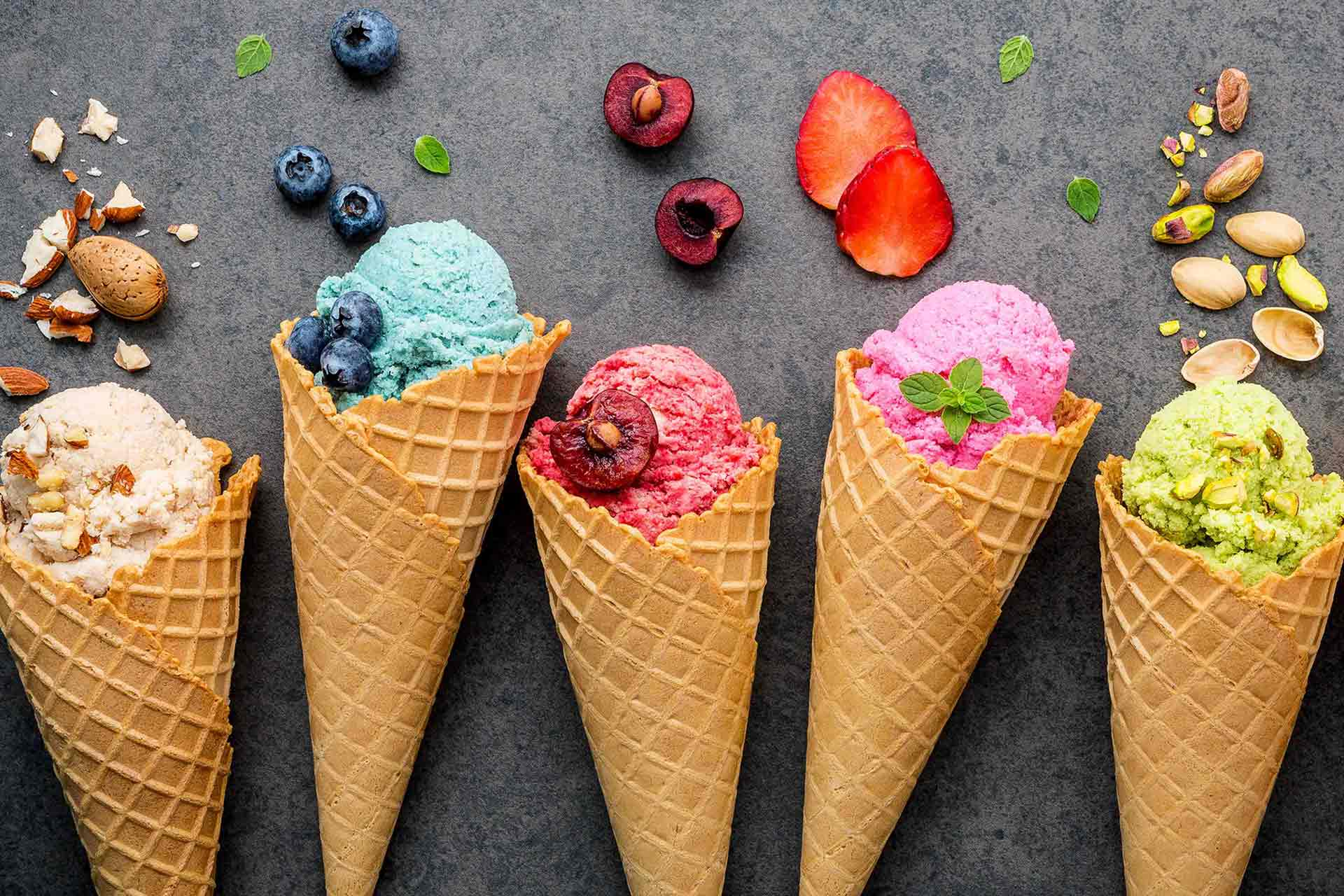 Ice cream with cone and different flavors