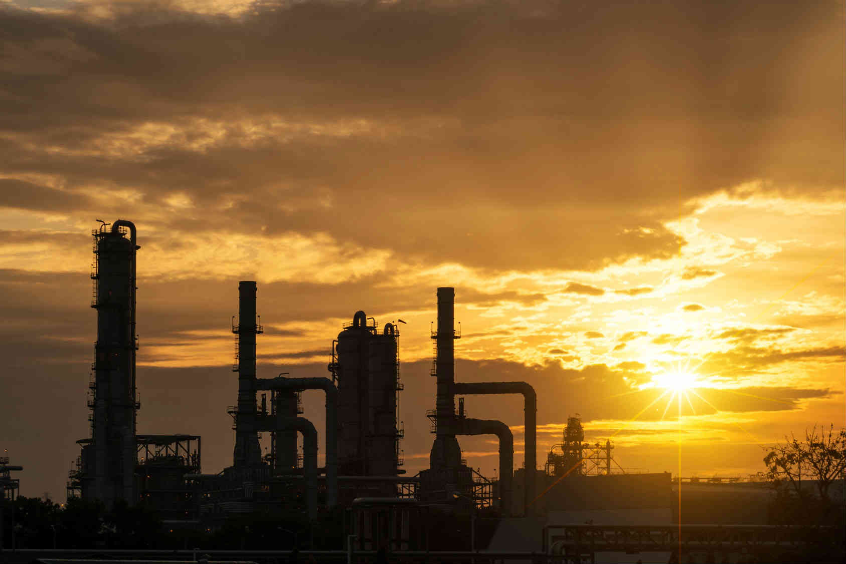 Refinery during sunset