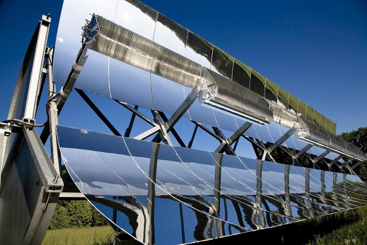 Solar panels in solar power statioin