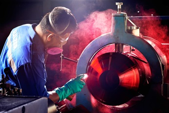 Dye penetrant testing was completed to ensure the new rotor had no flaws.