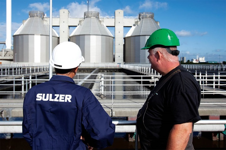 Sulzer employee at wastewater facility