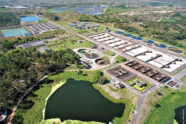Aerial view of Cetrel industrial wastewater treatment plant