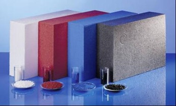 Colored expandable Polystyrene EPS as pellets and final product in white, red, blue and black