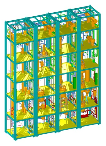 3D-Graphic of a product mill over six floors