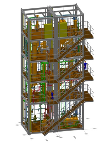3D-Graphic of a product mill over five floors