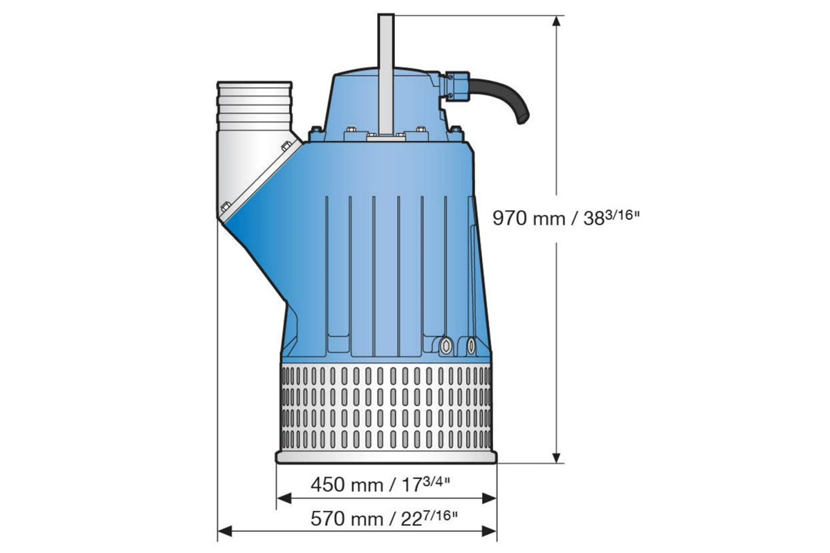 Dimension drawing of submersible drainage pump J 205