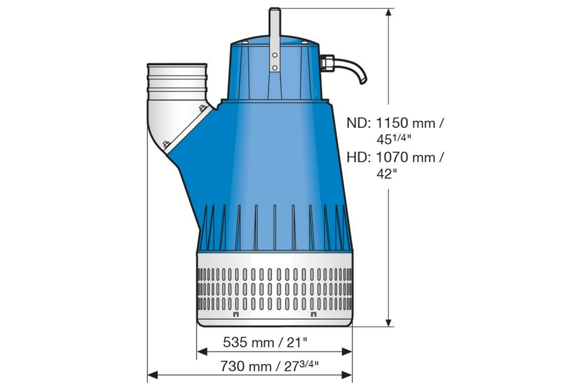 Dimension drawing of submersible drainage pump J 405