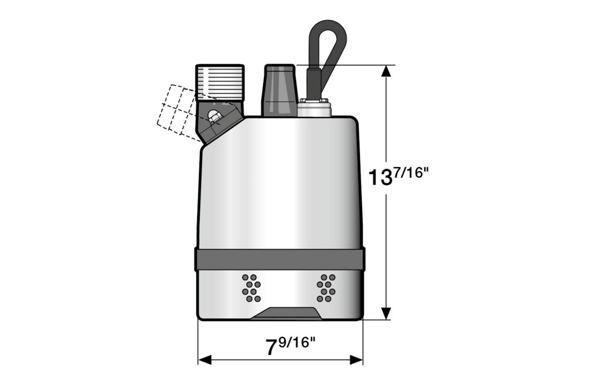 Dimension drawing of submersible drainage center-line pump JC 11 (60Hz US)