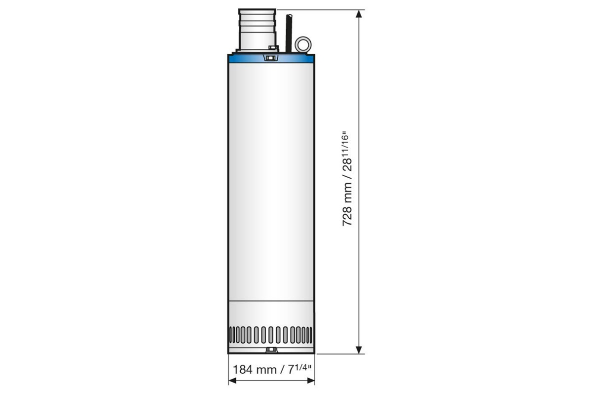 Dimension drawing of submersible drainage center-line pump JC 34