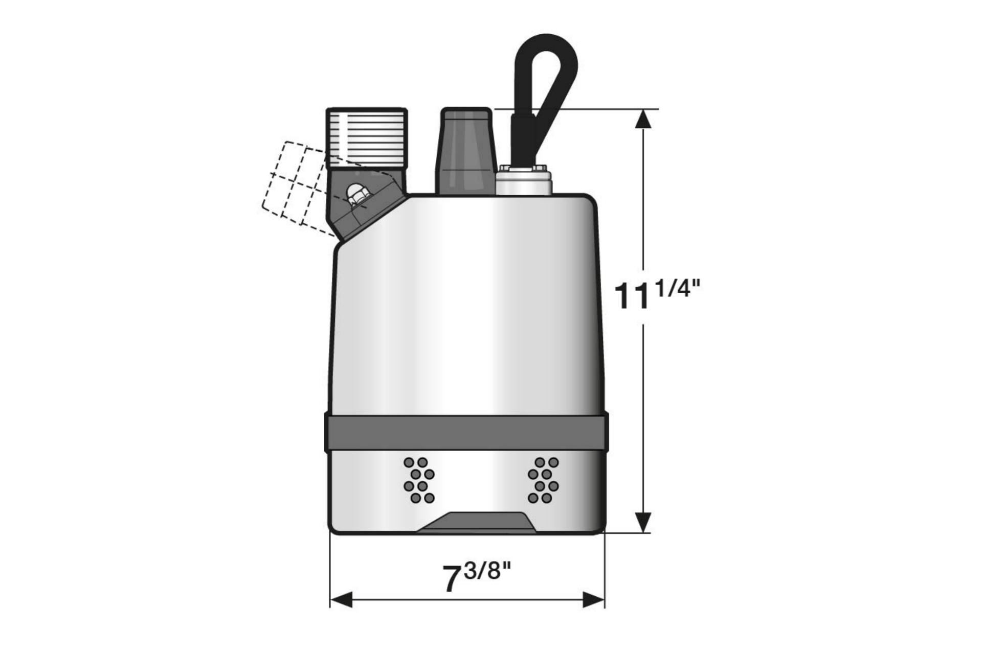 Dimension drawing of submersible drainage center-line pump JC 6 (60Hz US)