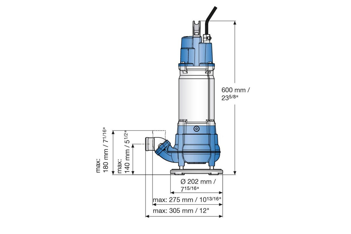 Dimension drawing of submersible sludge pumps JS 12 and JS 15