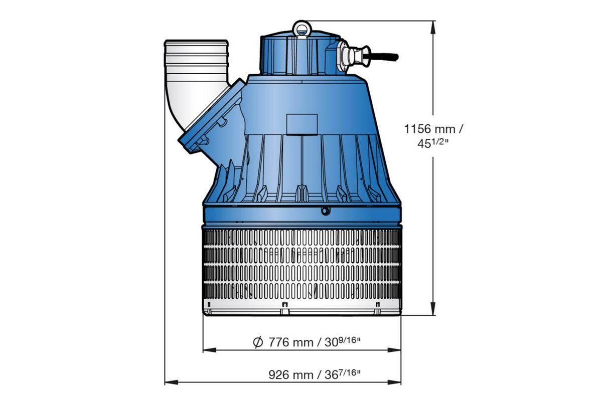 Dimension drawing of submersible drainage pump J 604