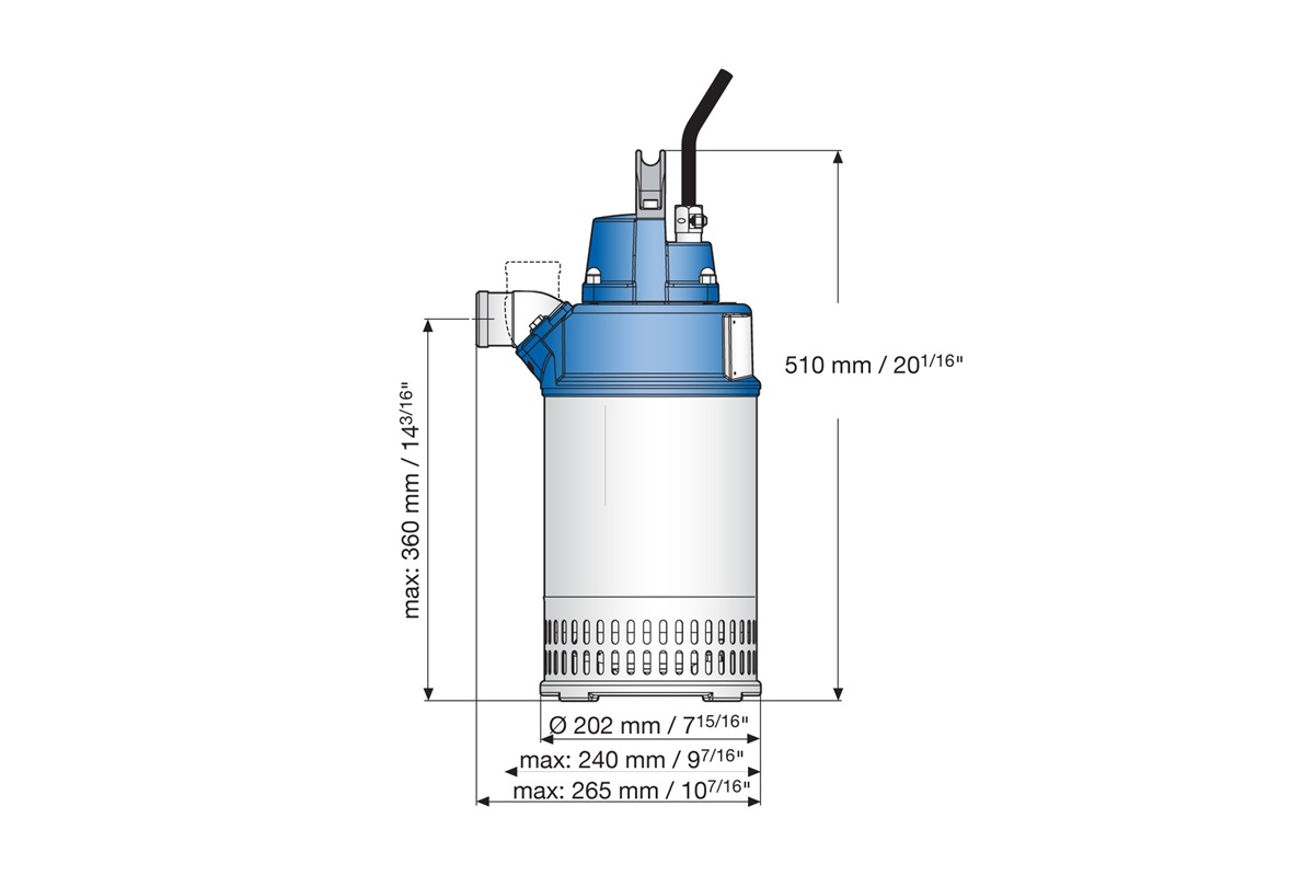 Submersible drainage pump J 15, dimensional drawing