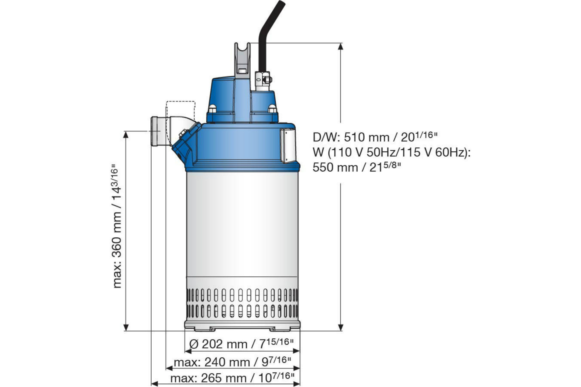 Dimension drawing of submersible drainage pump J 12