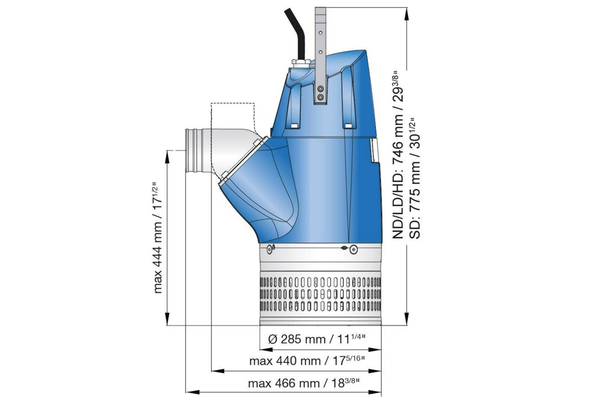 Dimension drawing of submersible drainage pump XJ 80
