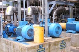BK centerline-supported end suction single stage centrifugal pumps installed in a chemical pulp mill