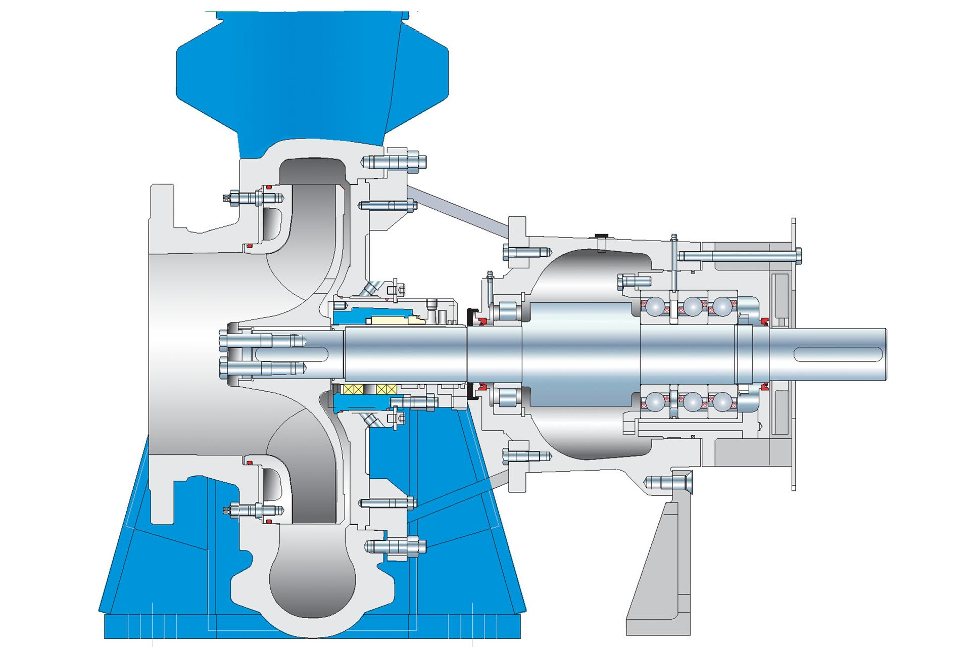 Cross-section of a BK centerline-supported end suction single stage centrifugal pump