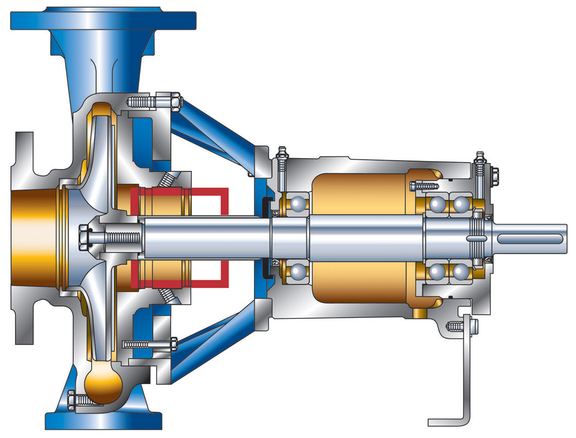 Cross-section of the NB end suction single stage centrifugal pump