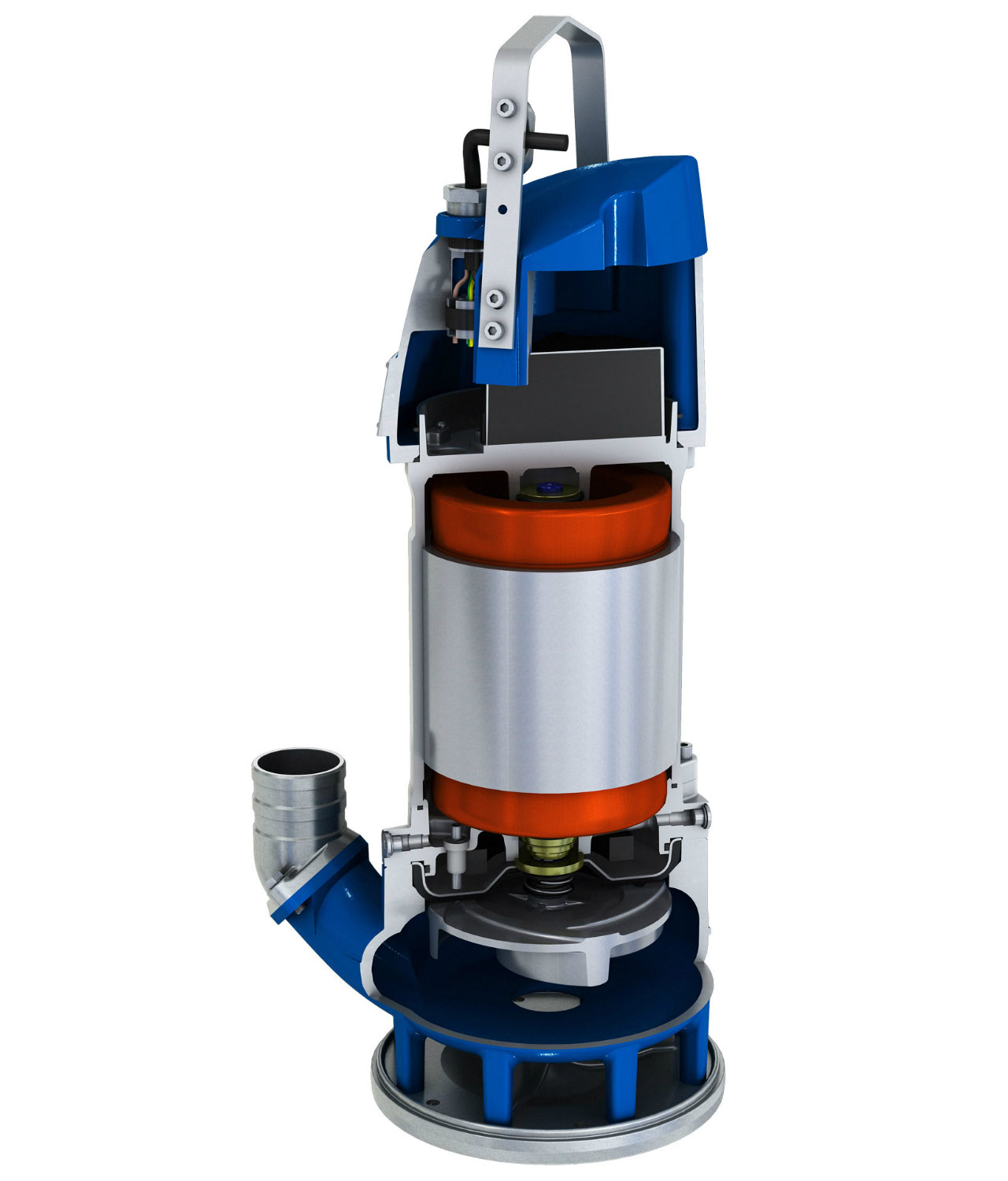 Submersible sludge pump XJS cut view