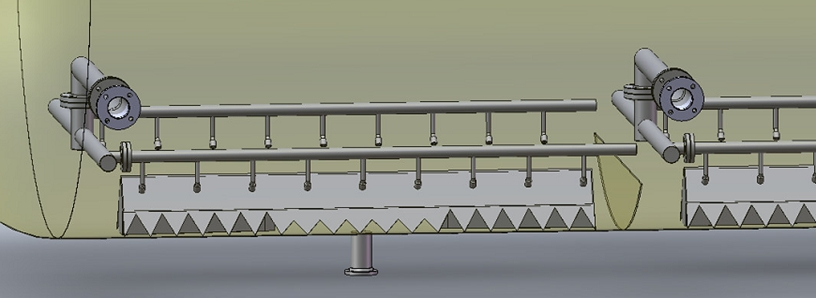 Graphic of a sand jetting system with distributor pipe, jet nozzles and sand pan