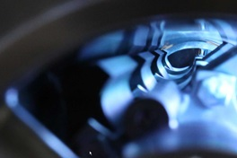 Detail view inside a Sulzer evaporator illuminated in blue
