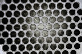 Detail view of tubes inside a tube sheet falling film evaporator