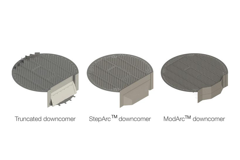 Graphic of three different high performance trays with different downcomers