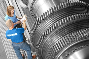 Gas turbine rotor in final inspection