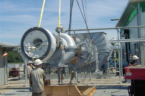 Turbomachinery equipment being relocated