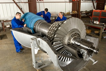 Open gas turbine in repair.