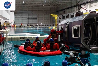Testing facility for offshore services with divers on a rubber boat