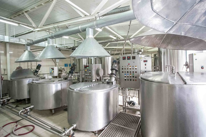 Steel new pipelines and vats on milk factory