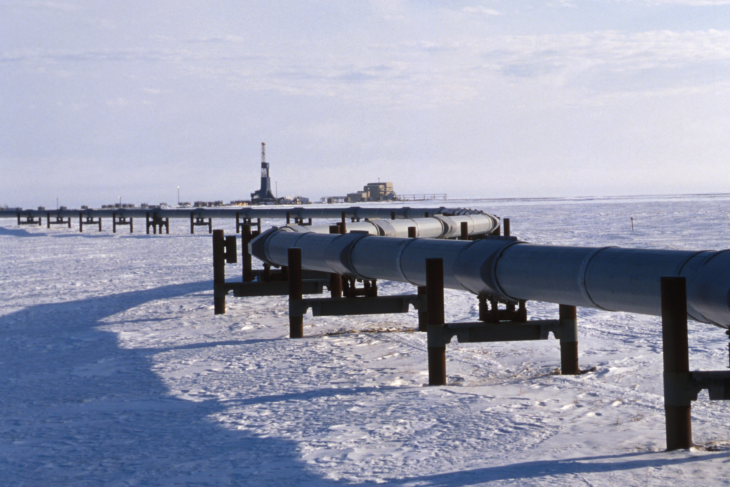 Pipeline in a snow-covered landscape