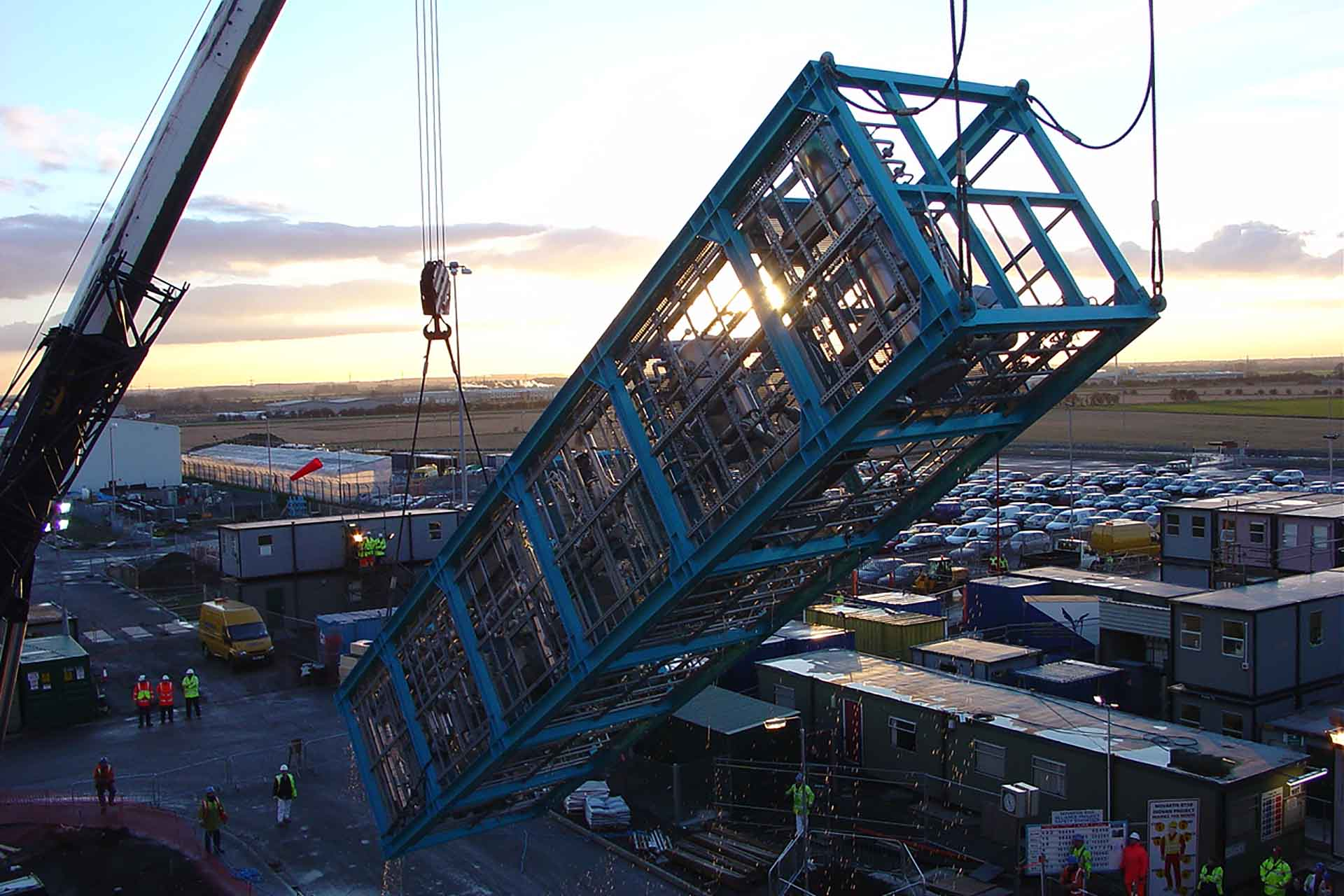 Skid-mounted solvent recovery unit with six floors erected by a crane at a customer's site