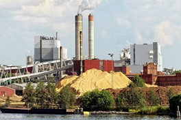 Riverfront paper mill with large wood chip storage pile