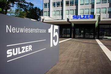 Sulzer Headquarters Building with address in front and the logo on the building