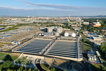 areal view wastewater treatment plant in vienna