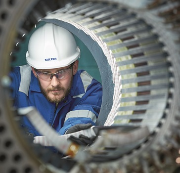Engineer repairing a rotator