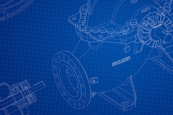 Technical Drawing on a blue background