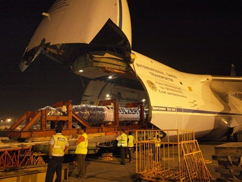 Loading generators in a cargo airplane