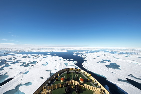Icebreaker on the frozen sea