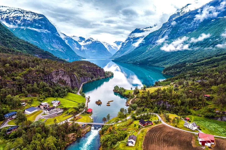 Beautiful Nature Norway natural landscape aerial photography with lake and river and mountains