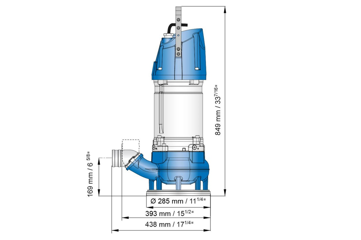 Dimension drawing of submersible sludge pump XJS 110